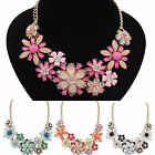 Gorgeous Women Jewelry Flower Crystal Choker Bib Statement Necklace Pendant CHIC