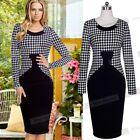 Women Vintage Retro Houndstooth Formal Business Party Pencil Sheath Dress NB51