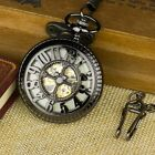 US PACIFISTOR Skeleton Luminous Dial Mechanical Antique Style Pocket Chain Watch