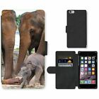 Cell Phone Card Slot PU Leather Wallet Case For Apple iPhone Elephant