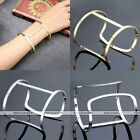 Silver Gold I-shaped Simple Bangle Bracelet Women Men Jewelry Fashion Punk Gift