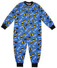 Boy's BATMAN Cotton Romper Popper Sleepsuit Pyjamas Blue  4 to 10 Years NEW