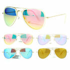 SA106 Womens Feminine Brushed Gold Metal Double Frame Revo Aviator Sunglasses