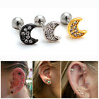 2pcs 16G Rhinestone Moon Cartilage Earrings Ear Auricle Lobe Piercing Studs 1/4""