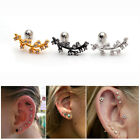 2pcs 16G Cz Branch Surgical Steel Ear Studs Cartilage Earrings Auricle Piercing