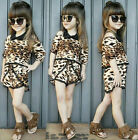 Toddler Kids Baby Girl Outfits Summer Leopard Tops +Jeans Pants Clothes Set
