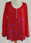 Size 14 Red Blue Summer Blouse Lightweight Top Long Sleeve Loose Fit Nomads NEW