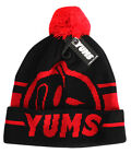 Yums Pom Beanie Unisex Mens Womens Boys Girls Bobble Hat Black Red (2P)
