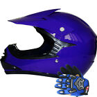 LEO-X15 Youth Junior Child Kids Motorbike Motocross MX Helmet Blue + Gloves Set