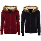 Ladies Womens Soft Teddy Fleece Lined Faux Fur Hooded Cardi Hoody Jumper Jacket