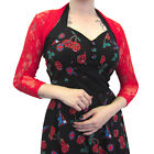 Womens New Red Lace Pinup Siren Cropped Cardigan Shrug Bolero Top