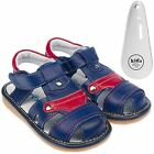 Boys Toddler Childrens Leather Squeaky Shoes Sandals Navy Blue & Red & Shoe Horn