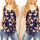 Women Fashion Blouse Butterfly Print Sleeveless Chiffon Casual Tank Tops Shirt
