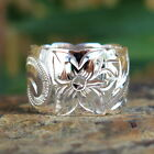 Hawaiian Jewelry Sterling Silver Scroll Flower Wedding Ring Band 15mm SR1241