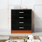 Chest of Drawers 4 Drawers Bedroom Furniture Bedside Cabinet Black/White& Walnut