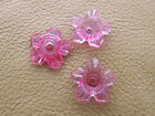 12mm 100/200pcs CLEAR HOT PINK ACRYLIC PLASTIC FLOWER LOOSE BEADS CM4467