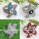 Fashion Crystal Rhinestone Starfish Cocktail Ring Adjustable Punk Women Jewelry