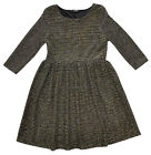 Girls Gold Striped Three Quarter Sleeve Glitter Party Dress 4 to 10 Years NEW