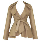 Womens Ladies New Beige Vintage 1960s Frill Pelum Belted Fitted Jacket