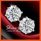 18k White Gold Filled Round Simulated Diamond Gift Solid Mens Lady Stud Earrings