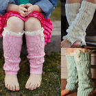 New Kids Girls Teens Knitted Leg Warmers With Lace Frills Cable Knit Boot Socks