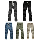 Men Linen Pants Solid Breathable Drawstring Pull-on Casual Pants Slacks Trousers
