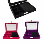 Color Velvet Glass Top Lid Jewelry Display Box for Ring Cuff n 6 Compartments
