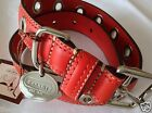 NEW COACH shiny GERANIUM RED NICKEL 60112 GROMMET SMALL LARGE DOG COLLAR S L