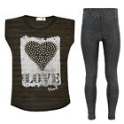 Girls Love Top & Sequined Legging 2 Piece Set Kids Children Outfit New 7-13 Year