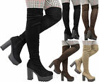 Ladies Women Thigh High Over The Knee Chunky Cleated Platform Heel Stretch Boots