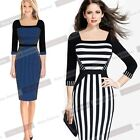 New Women 3/4 Sleeve Striped Zipper Casual Work Party Color-block Dress NB239