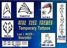 Fancy Dress STAR TREK themed  temporary TATTOOS X4  waterproof  LAST1 WEEK+