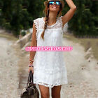 New Women Summer Style Boho Embroidery Floral Retro Crochet Beach Ropa Dress