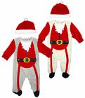 Baby Xmas Santa Claus Outfit Luxury Fleece Day Romper All in One & Hat 0-18 Mths