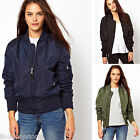 Ladies Flying MA1 Military Padded Coat Bomber Front Zip Womens Classic Jacket
