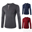 Stylish Casual T-Shirt Mens Slim Fit Long Sleeve Shirt Tee Tops Solid 3 Colors