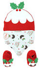 Baby 3 Piece Xmas Pudding Hat Bib & Bootees Christmas Set Newborn to 6 Months