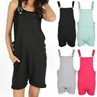 Womens Contrast Pinafore Playsuit Ladies Dungaree Pocket Buckle Strap Jumpsuit