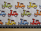 Multi coloured scooters / mopeds / 100% cotton poplin Fabric material