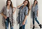 Cardigan Fringe Tassels Plaid Jacket Cotton Top High Low Bohemian Scarf S M L