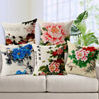 Flax Linen sofa pillow cushion pillowcase Chinese colorful Peony Flower gift 1pc