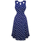 Womens Navy Heart 1940s Wartime Victory Vintage Pinup Party Tea Dress