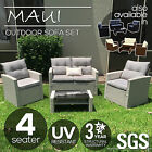 New 4 Piece Outdoor Wicker Sofa Lounge Set Garden Chair Table Furniture Setting