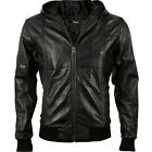 VIPARO Black Lambskin Bomber Leather Hooded Hood Jacket Coat - Rocco