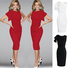 Sexy Womens Pleated Cap Sleeve Bodycon Cocktail Party Evening Pencil Dress UK