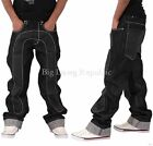 Time Is Money Mens Boys Blk Ct Faux Leather Baggy Hip Hop Loose Fit Jeans Skater