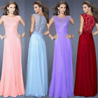 Womens Summer Long Prom Evening Party Beach Chiffon Dress Sleeveless Round Neck