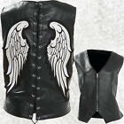 Womens Ladies Black Leather Angel Wing Vest Waistcoat Laced Back Zip Front Lined