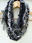 Scarf Necklace Black White Gray Fabric Infininty Loop Jarn Scarf Necklace Unique