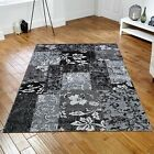 Designer Patchwork Black Grey Tapestry Rugs - 5 Size Inc Large A Hallway Runner